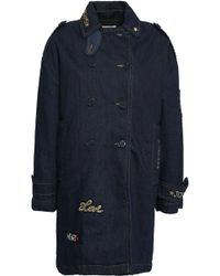 RED Valentino - Woman Embellished Double-breasted Denim Trench Coat Dark Denim - Lyst