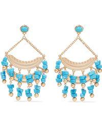Kenneth Jay Lane - Woman Gold-tone Stone Earrings Turquoise - Lyst