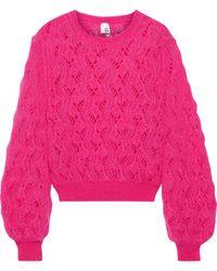 Iris & Ink - Kiira Open-knit Mohair-blend Sweater Fuchsia - Lyst