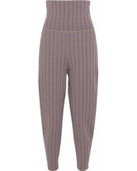 Stella McCartney - Cropped Houndstooth Jacquard-knit Tapered Trousers - Lyst