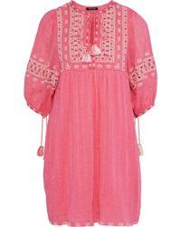 Love Sam - Woman Midsummer Peasant Embroidered Cotton-gauze Mini Dress Pink - Lyst