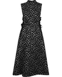 Lela Rose - Lace-up Metallic Cloqué-jacquard Midi Dress - Lyst
