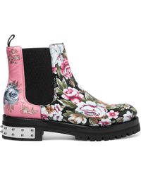 Alexander McQueen - Embroidered Printed Leather Chelsea Boots - Lyst