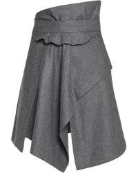 Carven - Asymmetric Wool Mini Skirt Light Grey - Lyst