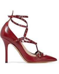 Valentino - Love Latch Eyelet-embellished Two-tone Leather Pumps - Lyst