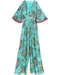 Matthew Williamson - Smocked Printed Silk Jumpsuit Light Green - Lyst