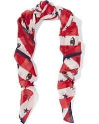 KENZO | Printed Cotton And Silk-blend Gauze Scarf | Lyst