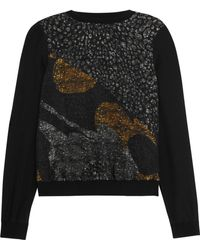 Raoul - Mika Metallic Lace-paneled Printed Silk Sweatshirt - Lyst