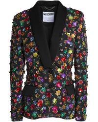 Moschino - Floral-appliquéd Printed Cotton-blend Blazer - Lyst