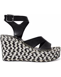 Sigerson Morrison - Arien Leather Platform Wedge Sandals - Lyst