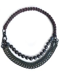 Proenza Schouler - Gunmetal-tone, Cord And Bead Necklace - Lyst