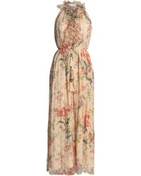 Zimmermann - Ruffle-trimmed Floral-print Silk-georgette Wide-leg Jumpsuit - Lyst