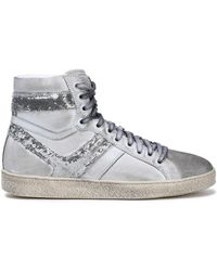 IRO - Woman Sequin-embellished Metallic Brushed-leather High-top Trainers Light Grey - Lyst