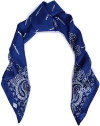 Rag & Bone - Printed Silk-twill Scarf Royal Blue - Lyst