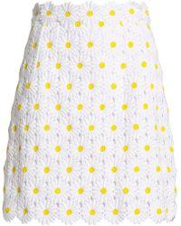 Dolce & Gabbana - Cotton-blend Guipure Lace Mini Skirt - Lyst