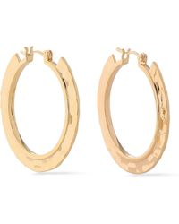 Noir Jewelry - Hammered Gold-tone Hoop Earrings - Lyst