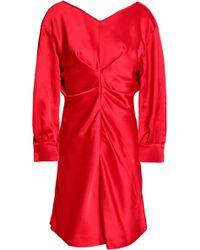Isabel Marant - Gathered Satin-crepe Mini Dress - Lyst