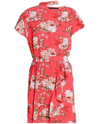 W118 by Walter Baker - Wendy Cutout Ruffled Floral-print Crepe Mini Dress - Lyst