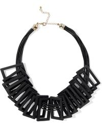 Kenneth Jay Lane - Wood, Cord And Gold-tone Necklace - Lyst