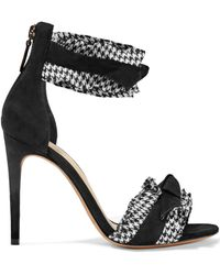 Alexandre Birman - Houndstooth-trimmed Bow-embellished Suede Sandals - Lyst