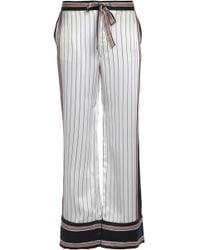 Equipment - + Kate Moss Avery Striped Silk Wide-leg Trousers - Lyst