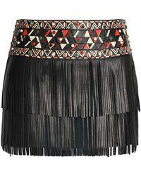 Valentino - Fringed Embellished Leather Mini Skirt - Lyst