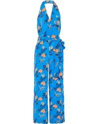 Diane von Furstenberg - Belted Floral-print Silk Crepe De Chine Halterneck Jumpsuit - Lyst