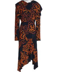 Peter Pilotto - Asymmetric Embroidered Silk-crepe Dress - Lyst