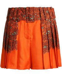 Marco De Vincenzo - Pleated Floral-print Silk-twill Shorts - Lyst
