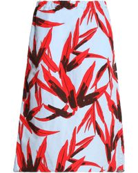 Marni - Woman Printed Cotton And Linen-blend Skirt Sky Blue Size 42 - Lyst