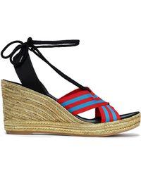 Marc Jacobs - Striped Grosgrain Wedge Espadrille Sandals - Lyst
