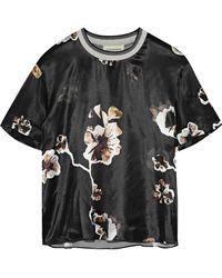 By Malene Birger - Opheelia Floral-print Satin T-shirt - Lyst