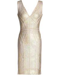 3ee6d8609dd6 Hervé Léger - Hervé Léger Woman Metallic Bandage Mini Dress Gold - Lyst