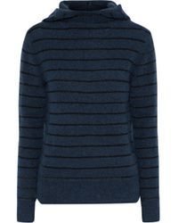 By Malene Birger - Ermos Striped Stretch-knit Hooded Sweater Storm Blue - Lyst