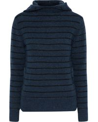By Malene Birger - Woman Striped Knitted Hooded Sweater Storm Blue - Lyst