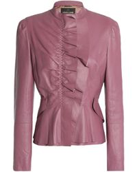 Roberto Cavalli - Ruffle-trimmed Leather Jacket - Lyst