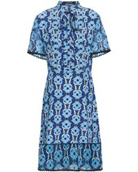 Markus Lupfer - Woman Pussy-bow Floral-print Silk Crepe De Chine And Georgette Dress Blue - Lyst