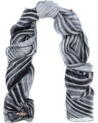 Roberto Cavalli - Striped Silk-chiffon Scarf - Lyst