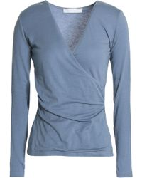 Kain - Wrap-effect Cotton And Modal-blend Jersey Top Light Blue - Lyst