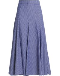 TOME - Pleated Pinstriped Cotton-blend Midi Skirt - Lyst