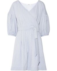 ADEAM - Belted Striped Seersucker Playsuit - Lyst