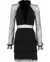 Nicholas - Lace-paneled Crepe Mini Dress - Lyst