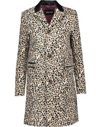 Just Cavalli - Faux Leather-trimmed Leopard-print Faux Fur Coat Animal Print - Lyst