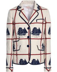 Tory Burch - Printed Woven Cotton And Linen-blend Jacket - Lyst