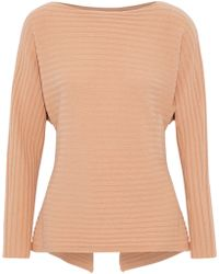 b415735a142 Vince - Cutout Tie-back Ribbed Wool And Cashmere-blend Sweater - Lyst