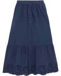 Mes Demoiselles - Clem Broderie Anglaise-trimmed Ruffled Cotton-poplin Midi Skirt - Lyst