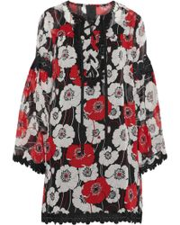 Anna Sui - Lace-up Guipure Lace-trimmed Floral-print Chiffon Dress - Lyst