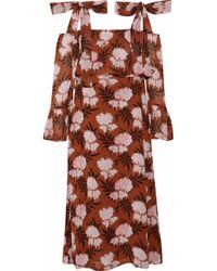 Ganni - Monette Cold-shoulder Floral-print Georgette Dress - Lyst