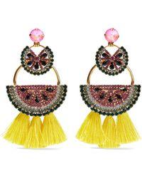Elizabeth Cole - Gold-tone, Crystal And Tassel Earrings - Lyst