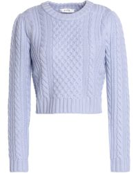 MILLY - Cropped Cable-knit Wool Sweater Sky Blue - Lyst
